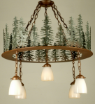 28 Inch Strunk Trees 5-Lt. Semi Flush Light