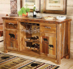 Barnwood Buffet w/ Carved Bear Designs
