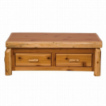 Cedar Log Enclosed Standard Finish Coffee Table w/ Elevating Top