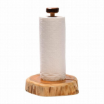 Cedar Log Free-Standing Paper Towel Holder
