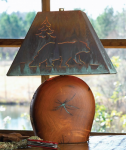 Mesquite Lamp w/ Copper Bear Shade - 17 Inch