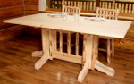 Lacquer Finish Hand-Peeled Rustic Double Pedestal Dining Table