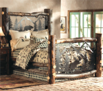 Aspen Log Bed w/ Metal Wildlife Scene - Queen