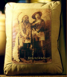 Sitting Bull & Buffalo Bill Leather Pillow