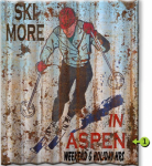 Ski More Personalized Corrugated Metal Sign