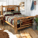 Aspen Creek Log Bear Bed - Queen