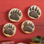 Wood Carved Bear Paws (Set of 4)