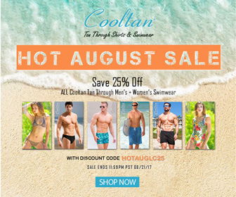 HOT AUGUST SALE! Save 25% off on ALL Cooltan Tan-Through Men's & Women's Swimwear.