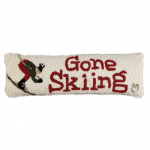 Gone Skiing Hooked Wool Pillow