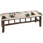 Hooked Wool Skier Hickory Bench - 48 Inch