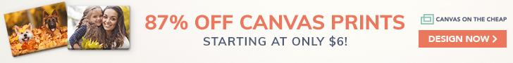 87% off canvas prints!